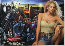 BUDWEISER MOTORCYCLE POSTER (2007) - BLONDIE BIKER BABE - SEXY GIRL DORM POSTER