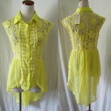 CHAMPAGNE & STRAWBERRY Anthropologie YELLOW LACE Chiffon PEASANT Peplum TOP M