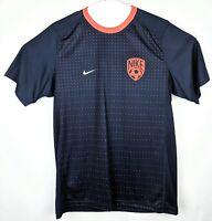 Nike Soccer Shirt Mens Large Short Sleeve Navy Blue Orange Polka Dots Player 10