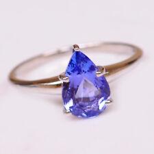 100% natürliche blaue Tansanit 1,35Ct Birne Form 585er Weißgold Verlobungsring