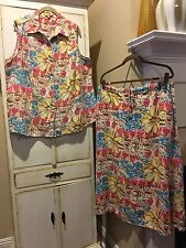 CHOICES ~ Sz 1X ( 16 18 ) set*  Linen Sleeveless Top + Skirt ~ Floral Tropical