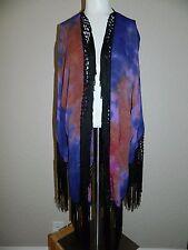 NEW TOPSHOP Women Tye Dye Fringe Shawl Cardigan Top  sz US 8 $198.00