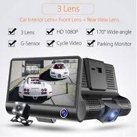 4'' 1080P HD 170° 3 Lens Car DVR Dash Cam G-sensor Recorder+Rearview Camera New