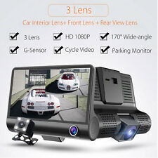 4'' 1080P HD 170° 3 Lens Car DVR Dash Cam G-sensor Recorder + Rearview Camera