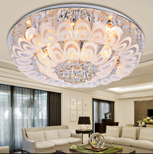 Luxury Peacock Feather LED Chandeliers Crystal Decor Ceiling Lights w/ Remote