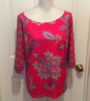 Gretchen Scott Top XL Pink-Red Blue Orange Paisley Print 3/4 Slit Sleeve
