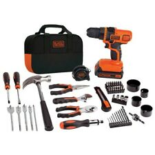 Black Decker Home Tool Kit With 20V Cordless Drill Household Tool Set 68 Piece