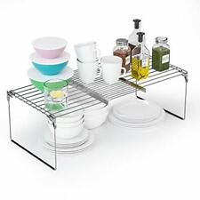 New listing 2 in 1 Expandable Cabinet Shelf Organizers Kitchen Counter Shelves & Over The