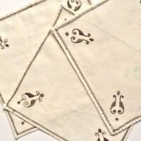 Vintage Linens - 3 embroidered ivory square pieces- each 9  inches square