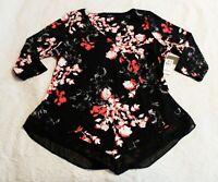 Alfani Elements Women's 3/4 Sleeve V-Neck Floral Blouse CL8 Pink Garden Size 1X