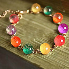 Women Candy Color Rainbow  Color Ball Crystal beads Retro Bracelet Chain Bangle