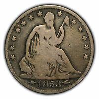 1853 50c Seated Liberty Half Dollar - Arrows & Rays - VG - SKU-H1081