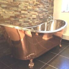 COPPER BATHTUB - CLAWFOOT- SHINY COPPER OUTSIDE AND NICKEL INSIDE - FREE WASTE