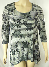 Autograph Grey Floral Soft Stretch 3/4 Sleeve Tunic Top Plus Size 16 BNWT #K90