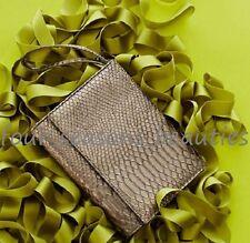 Neiman Marcus Metallic Silver Faux Leather Croc Evening Clutch Bag Wristlet NWT