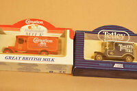 Rare Models of Promotion Red Carnation Truck and Blue Tetley Van