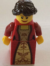 *NEW* Lego Minifig PRINCESS Female BRAIDED DARK BROWN Hair RED GOLD Torso Skirt