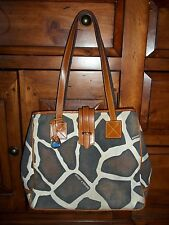 Dooney & Bourke Brown Leather Giraffe Print Tote Bag Purse