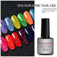 UV Holographic Gel Nail Polish Soak off Colorful Gel Varnish Manicure 14 Colors