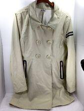 Women's Athleta Trench Pea coat long Khaki Beige Magnetic buttons Sz XL GUC
