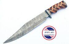 "Custom Handmade Damascus Steel Hunting Knife 15"" Bowie Wooden Handle MBE797"