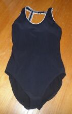 Woman's Lands End One Piece Black Ribbed Swimsuit Size 16