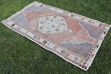 "Vintage Handmade Turkish Distressed Oushak Wool  Red Area Rug Carpet 75""x41"""