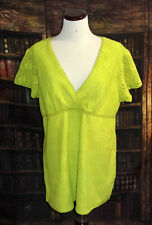 R-Q-T Pullover Top Size XL Womens Green Lace V Neck Short Sleeve Polyester