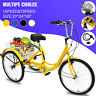 "20/24/26"" Adult Tricycle 1/7 Speed 3-Wheel Adult Trike Bicycle w/ Basket & Tool"