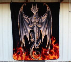 ANNE STOKES DRAGON WARRIOR SWORD FLAME FIRE FANTASY QUEEN SIZE BLANKET BEDSPREAD