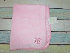 NWT Carters Pink Thank Heaven for Little Girls Flowers Floral Baby Blanket FLAW