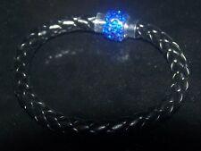BLACK FAU LEATHER PLATTED DARK BLUE CRYSTAL MAGNETIC CLASP BRACELET