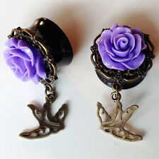 Pair Of ROSE DANGLE SPARROW  GAUGES PLUGS Choice of 9 Colors
