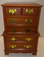 Vintage Music Jewelry Box Chest 5 Drawer w/Brass Handles TALES FROM VIENNA WOODS