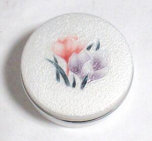 ANDO CLOISONNE WHITE ENAMEL FLORAL TRINKET JAR BOX