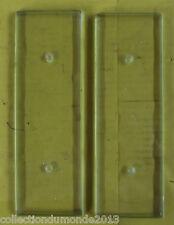 ANCIENNE PAIRE DE PLAQUE DE PROPRETÉ VERRE BISEAUTÉ VINTAGE RETRO 7cm x 21cm
