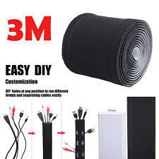 """118""""TV PC Cord Wire Cover Cable Management Organizer Neoprene Hider Sleeve 3M"""