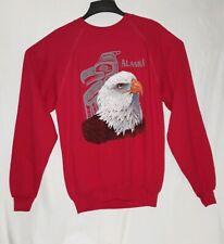 Vintage Pullover Sweater Alaska Bald Eagle Native American Indian Men's Xl Red