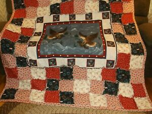 Beautiful Eagles Soaring in Patriotic Colors, Rag Quilt.Large and Warm