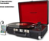 Small Portable Turntable Record Player Crosley 3-Speed Speakers Retro Vintage