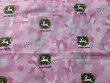 "Pink Floral Girly John Deere licensed Cotton Quilt Fabric Springs 44"" BTHY 1/2yd"
