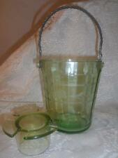 Vtg~Antq Etched Green Depression Glass Paneled Silver Handle Ice Bucket w/Insert