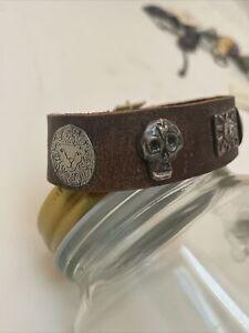 Jes MaHarry bracelet  *Sundance artist* sterling silver/ leather bracelet