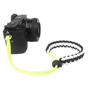 Black/White/Yellow Braided 550 Paracord Adjustable Camera Wrist Strap Bracelet