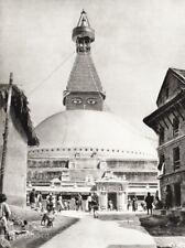 1934 Vintage Nepal Boudhanath Stupa Kathmandu Religion HURLIMANN Photo Art 11x14