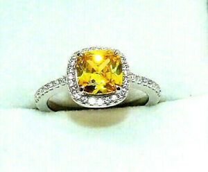 RHODIUM PLATED 925 HALLMARKED SILVER CUSHION CUT LEMON CITRINE HALO RING