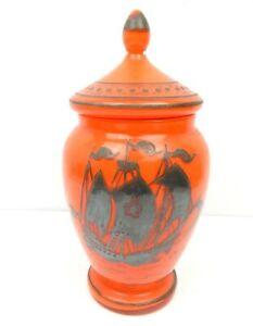 4C Orange Glass Vase Urn w/ Lid Spanish Ship Galleon Motif Painted MCM Retro!