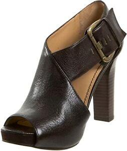 "WOW! NINE WEST Platform MEGA Black Leather Cut Away Peep Toe 5""  Cuff Pumps 12M"
