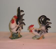 "Vintage Lefton Pair Rooser Roosters Beautiful 6.25"" and 8.5"" Tall Japan"