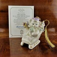 2001 Annual Lenox Teddy's Sleigh Ride Christmas Tree Ornament Coa